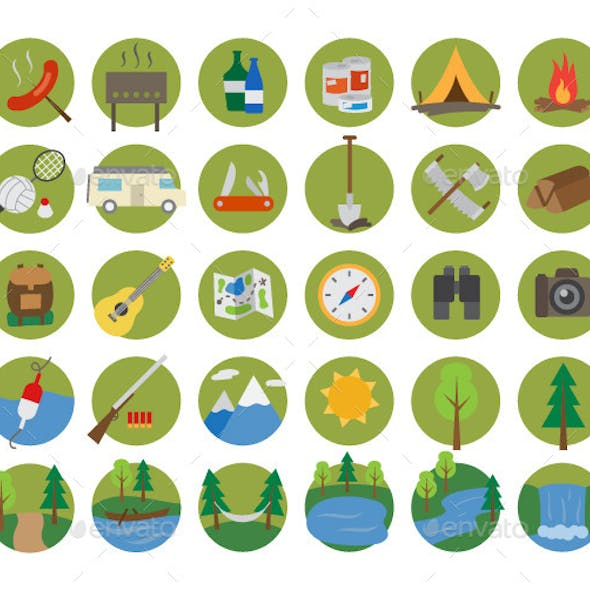 Camping and Nature Flat Icon Set