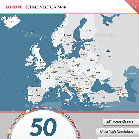Europe Retina Vector Map