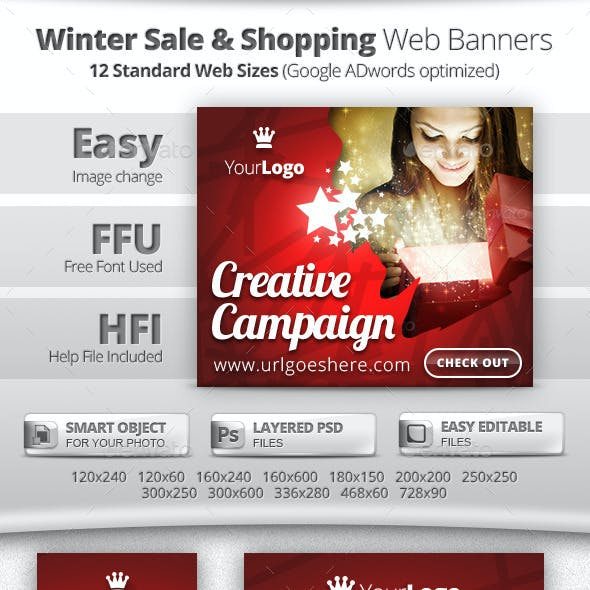 Winter Sale & Shopping Web Banners