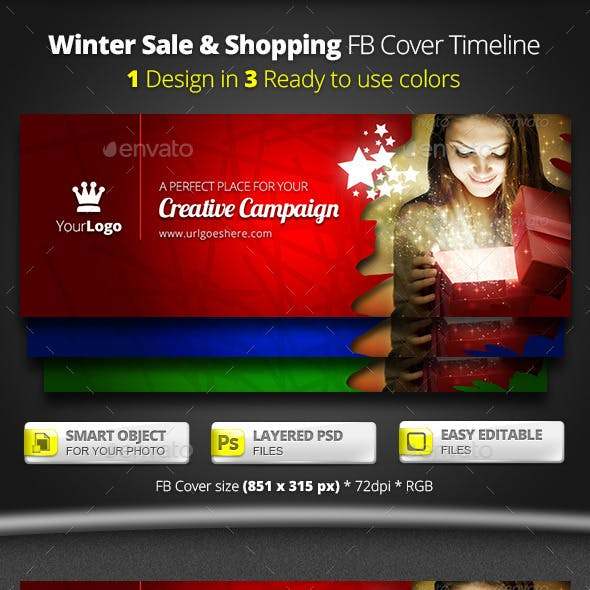 Winter Sale & Shopping FB Cover Timeline