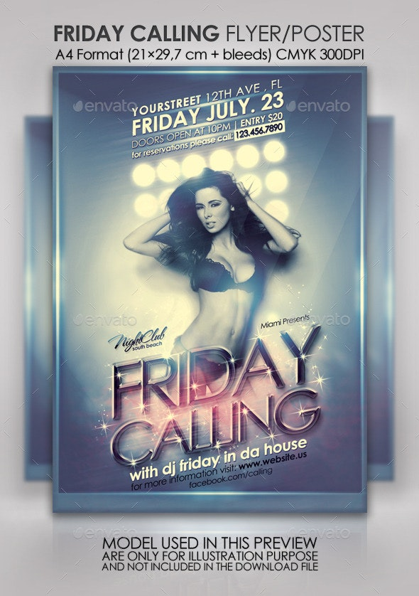 Friday Calling Party Flyer/Poster - Clubs & Parties Events
