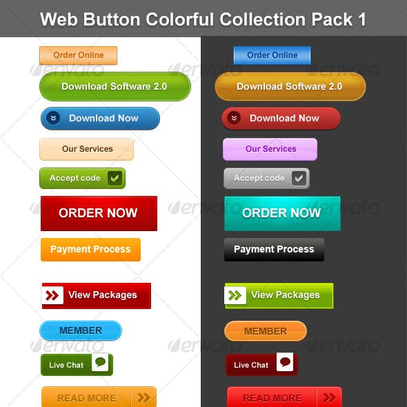 Web Button Colorful Collection Pack 1