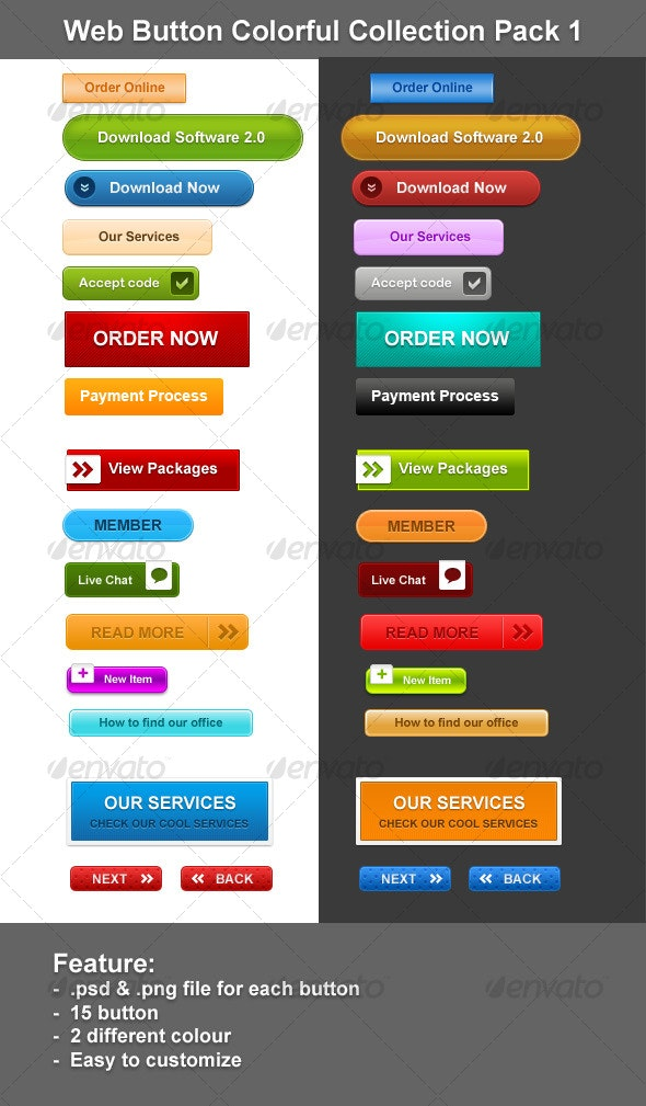Web Button Colorful Collection Pack 1 - Buttons Web Elements