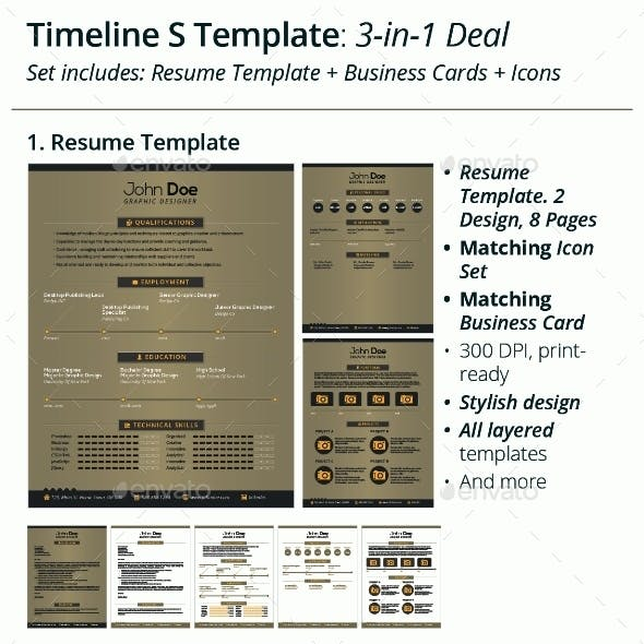 3-in-1 Deal: Resume Template + Icons + Business Card, Timeline S Template