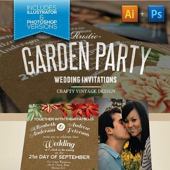 Rustic Garden Party Wedding Invitations