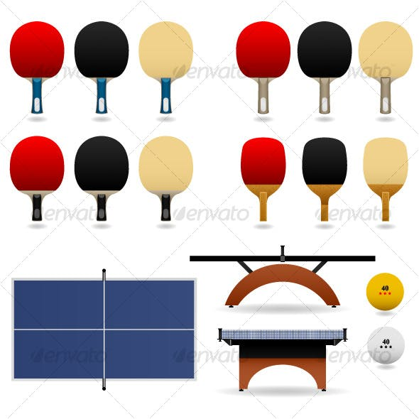 Table Tennis Ping Pong Set Vector