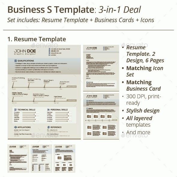3-in-1 Deal: Resume Template + Icons + Business Card, Business S Template