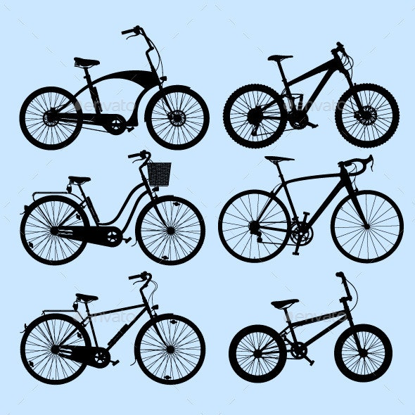 Bicycle Silhouettes - Man-made Objects Objects