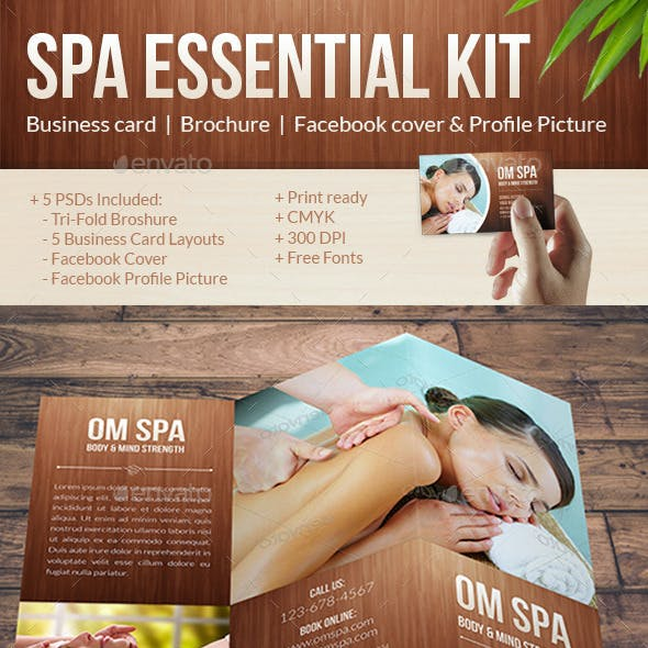 Beauty & Spa Pack: Tri-Fold Brochure, Business Cards, Facebook Cover