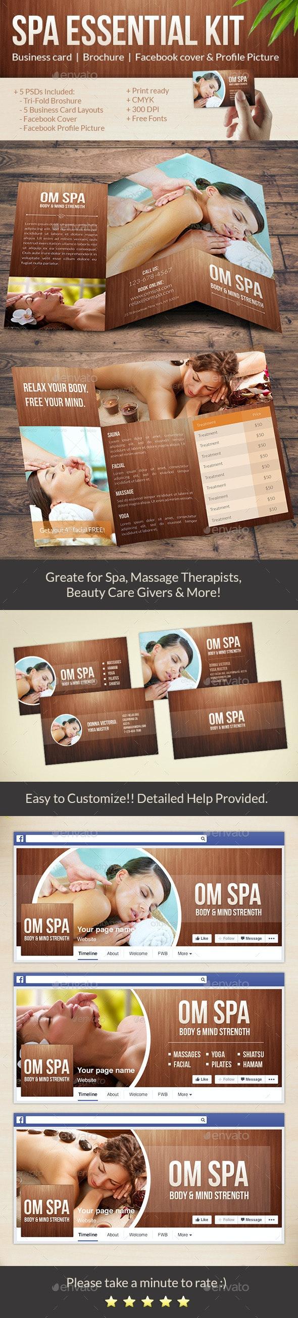 Beauty & Spa Pack: Tri-Fold Brochure, Business Cards, Facebook Cover - Brochures Print Templates