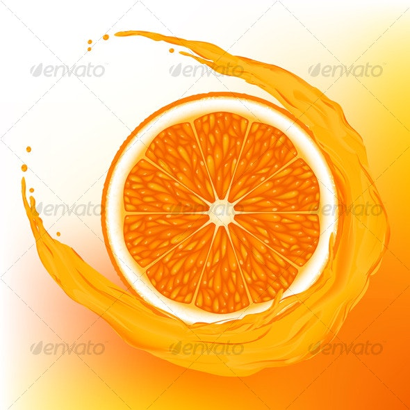 Orange with a wave juice - Food Objects