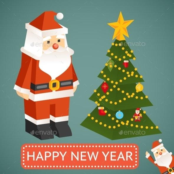 Christmas Tree Icons.Vector Santa Claus And Christmas Tree Icons