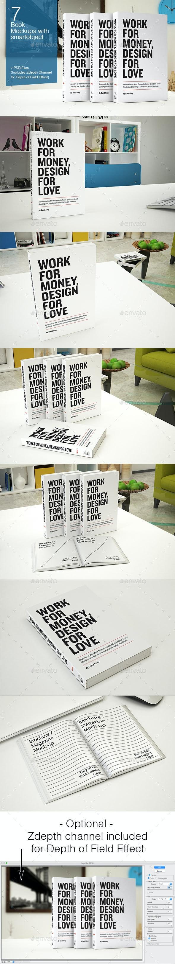 Book Mockup - 7 Poses - Books Print