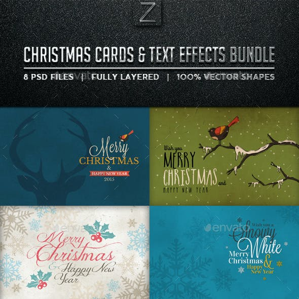 Christmas Cards & Text Effects Bundle