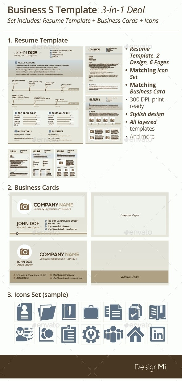 3-in-1 Deal: Resume Template + Icons + Business Card, Periwinkle S Template - Resumes Stationery