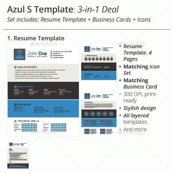 3-in-1 Deal: Resume Template + Icons + Business Card, Azul S Template