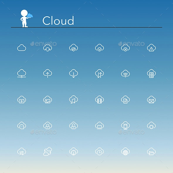 Cloud Line Icons - Web Icons