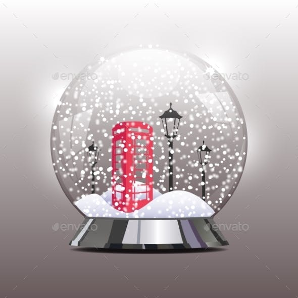Snow Globe with a Red Telephone Booth