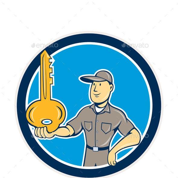 Locksmith Balancing Key Cartoon