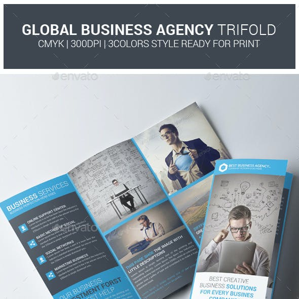 Global Business Trifold Brochure Template