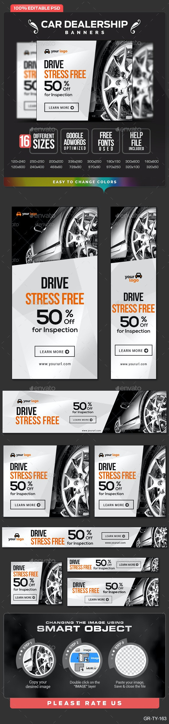Car Dealership Banners - Banners & Ads Web Elements
