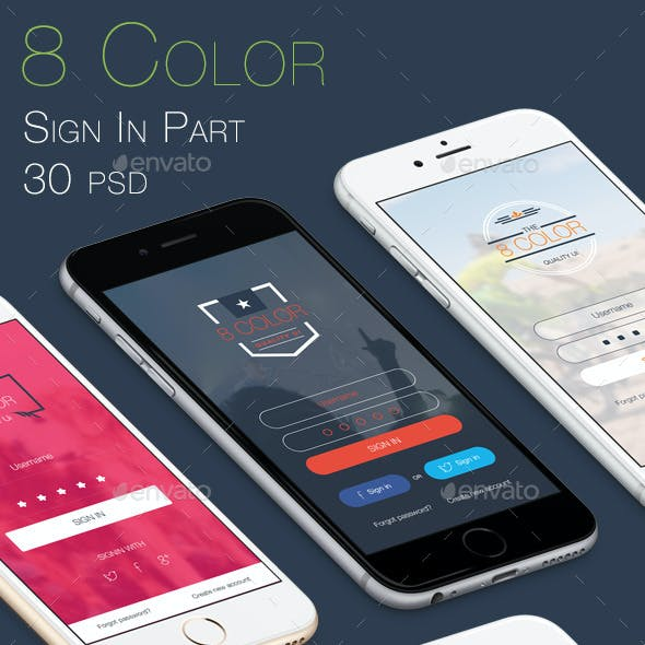 8 Color Sign In Part - Mobile UI Kit
