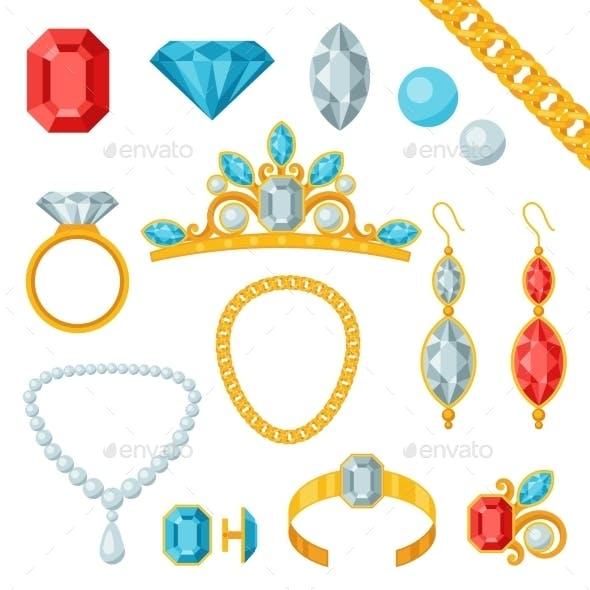 Set of Jewelry and Precious Stones