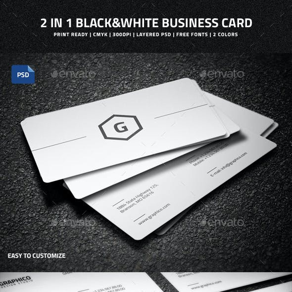 2 in 1 Black & White Business Card - 50
