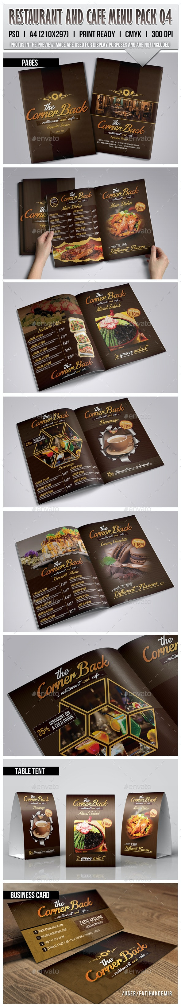 Restaurant & Cafe Menu Pack 04 - Food Menus Print Templates