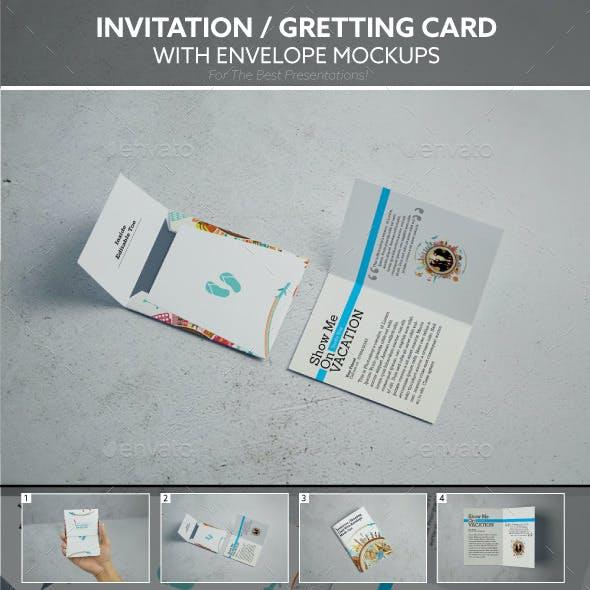 Invitation / Gretting Card With Envelope Mockups