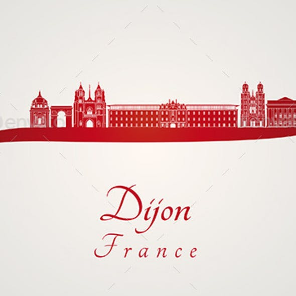 Dijon Skyline in Red