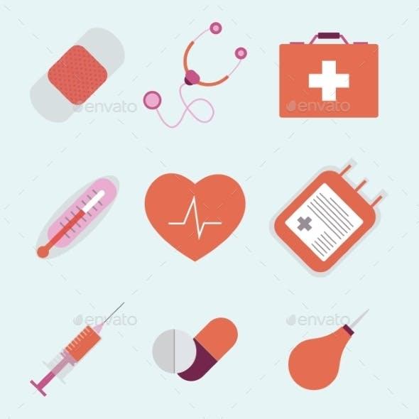 Decorative Medical Emergency First Aid Kit Symbols
