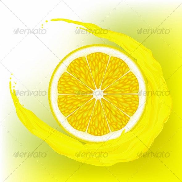 Lemon with a wave juice - Food Objects