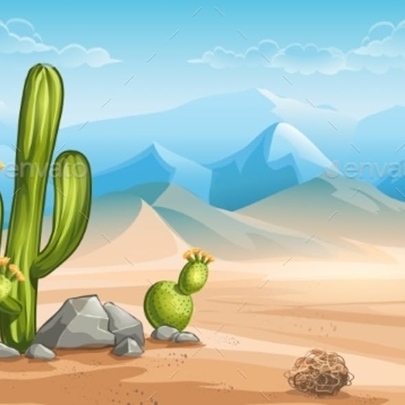 Illustration of Desert with Cactus on a Background
