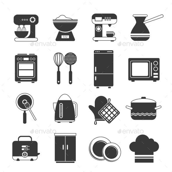 Kitchen Icons Black And White Set