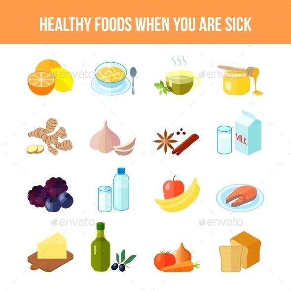Healthy Food Icon Flat