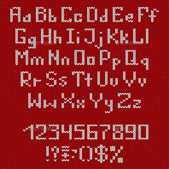 Set of Knitted Alphabet and Numbers