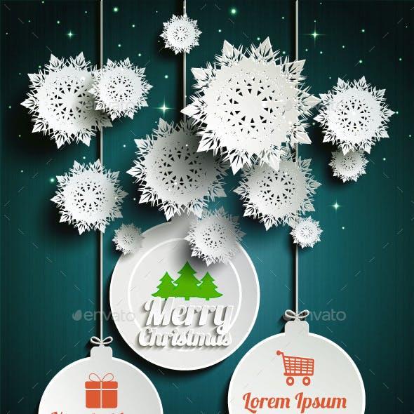 Paper Snowflakes Merry Christmas Balls at Night