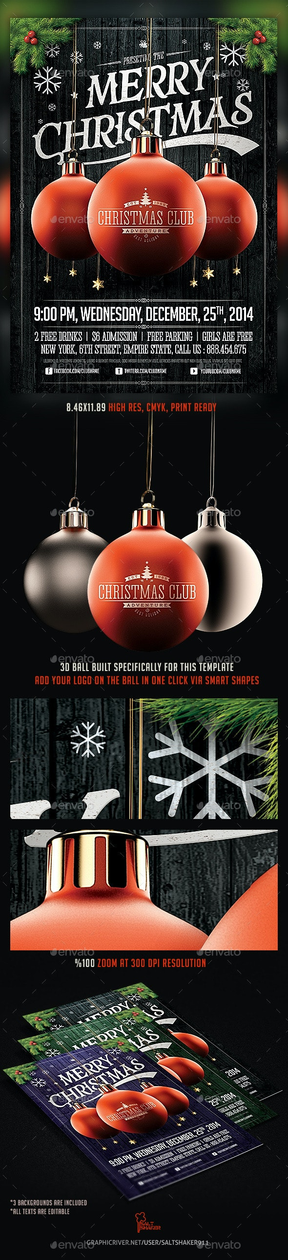 Christmas Party Flyer Template v.2 - Holidays Events