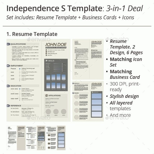 3-in-1 Deal: Resume Template + Icons + Business Card, Independence S Template