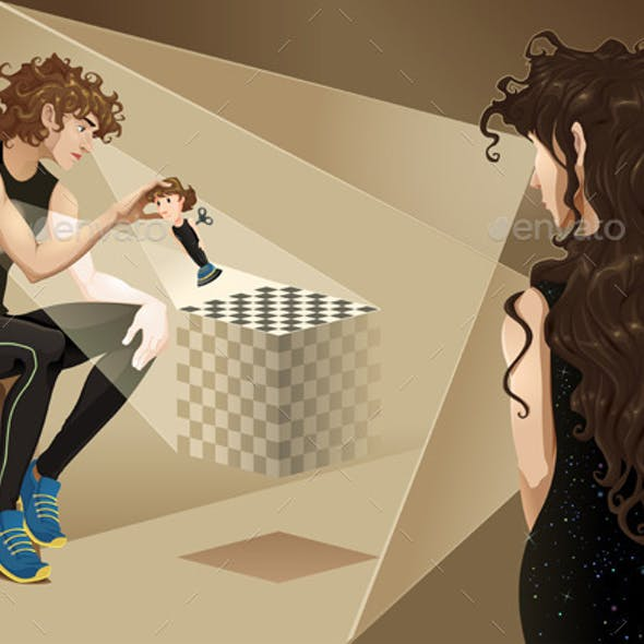 Characters with Chess Board