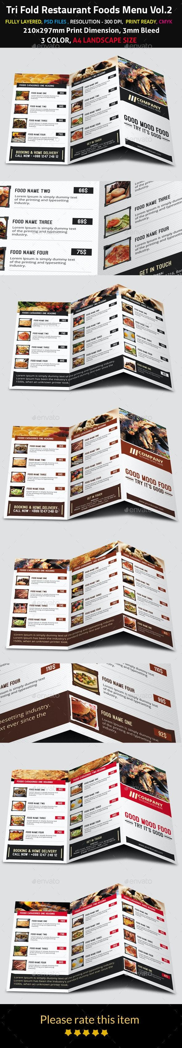 Tri Fold Restaurant Foods Menu Vol.2