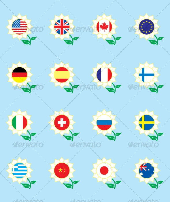 Flower flags - Objects Vectors