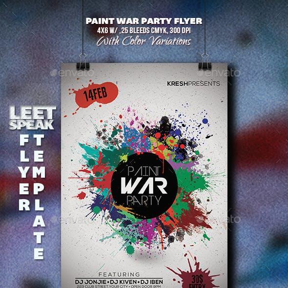 Paint War Party Flyer