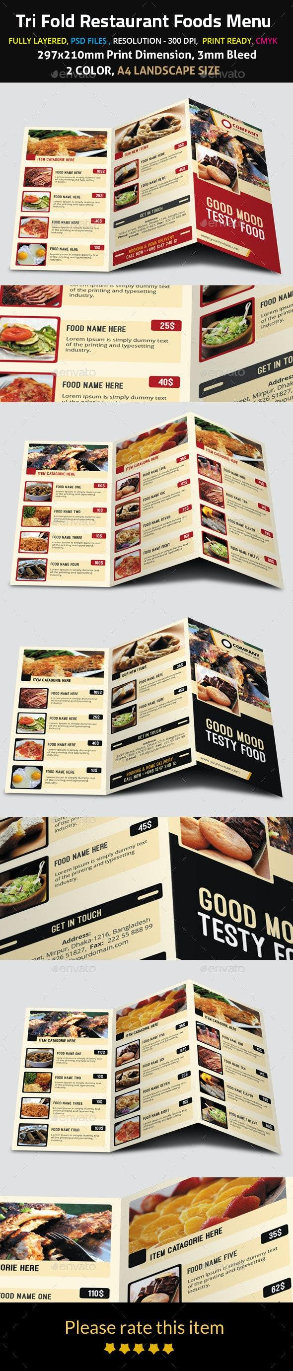 Tri Fold Restaurant Foods Menu