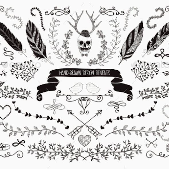 Hand-Drawn Floral Design Elements