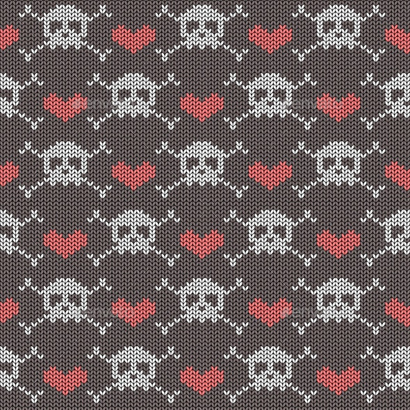 Knitted Seamless Pattern with Skulls - Backgrounds Decorative