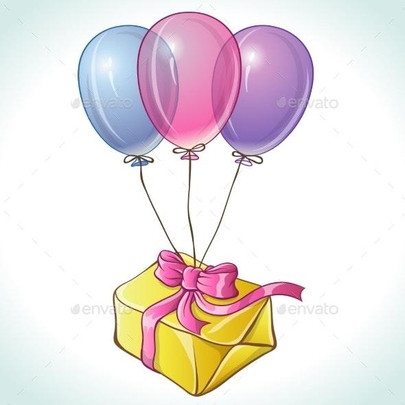 Happy Birthday Card with Balloons and Gift - Birthdays Seasons/Holidays