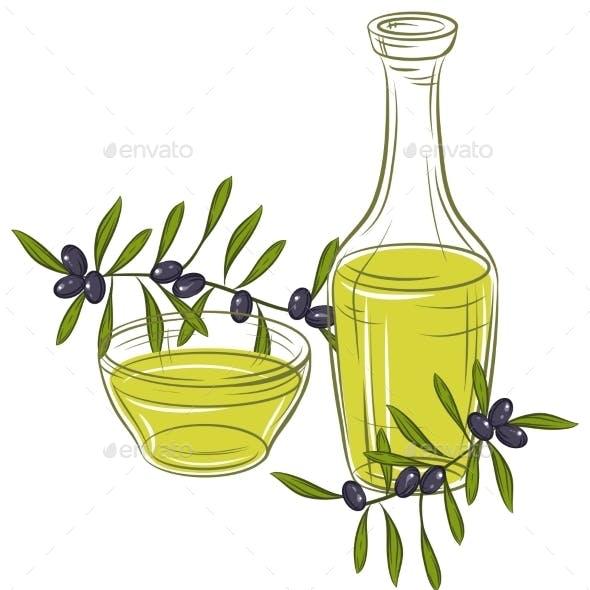 Illustration with Black Olives and Bottle of Oil