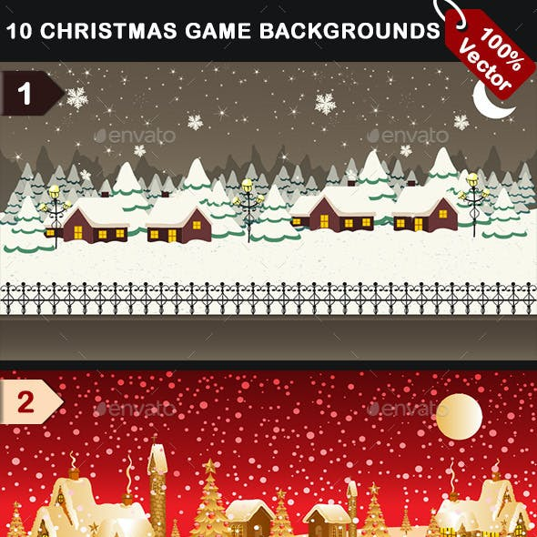10 Vector Christmas Mobile Game Backgrounds